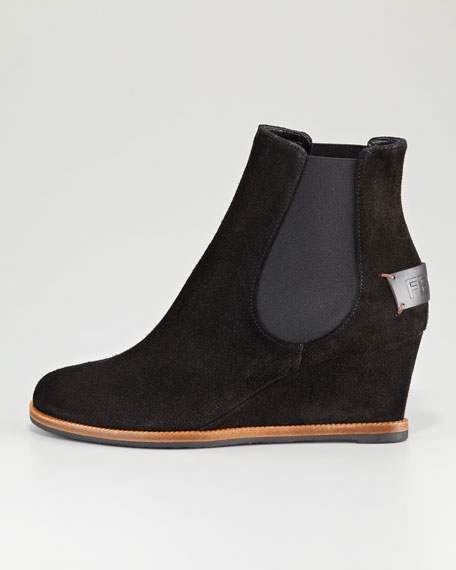 Cathy Suede Logo-Back Wedge Ankle Boot