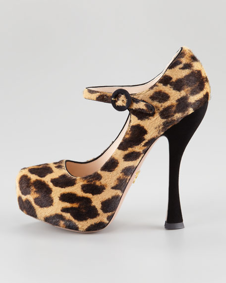 Stamped Leopard-Print Mary Jane Pump