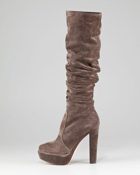 Suede Platform Knee Boot