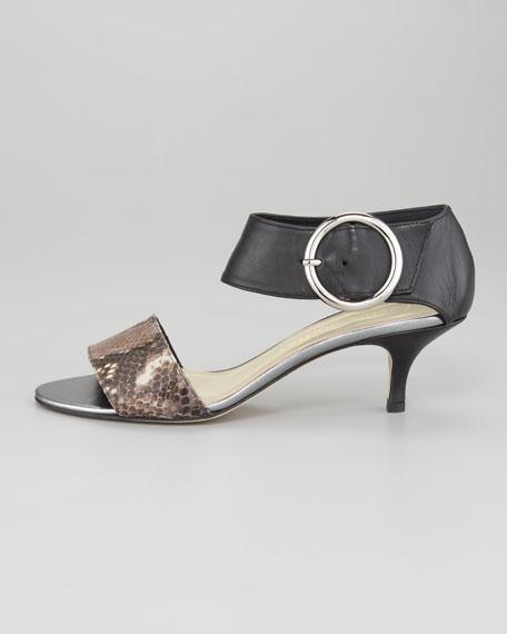 Bridget Python-Print & Napa Kitten Heel Sandal