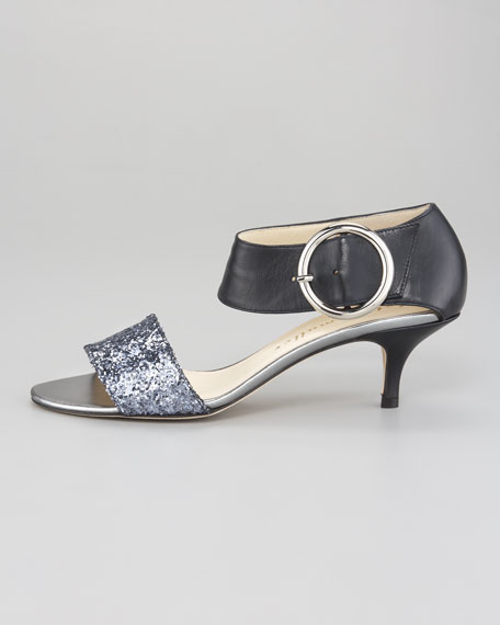 Bridget Glitter-Napa Kitten Heel Sandal