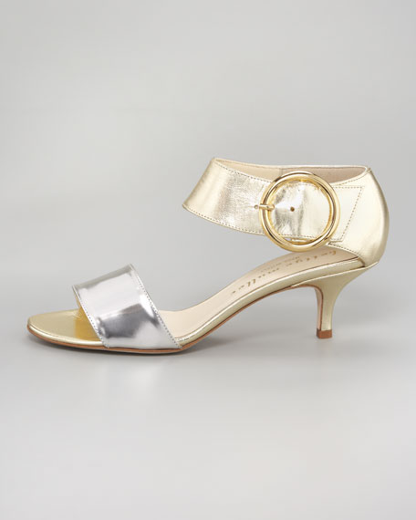Bridget Metallic Kitten Heel Sandal