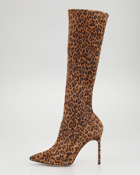 Leopard-Print Stretch Suede Boot