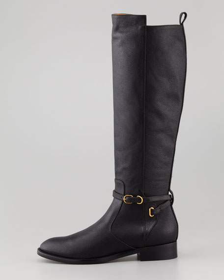 Papier Flat Belted Riding Boot