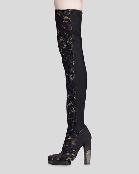 Brocade Over-the-Knee Boot