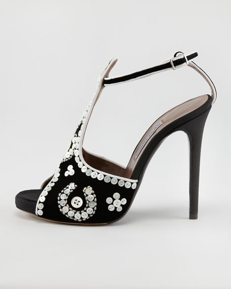 Mayfair Button-Covered T-Strap Sandal