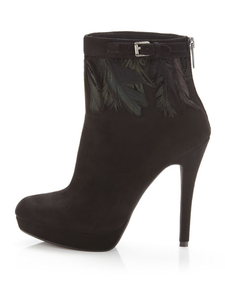 Vasha Feather/Suede Bootie