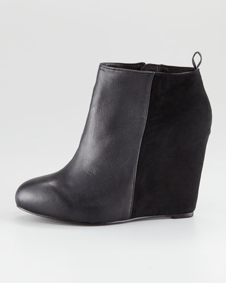 Gianni Suede & Leather Wedge Bootie