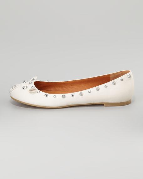 Studded Mouse Ballerina Flat, Oat