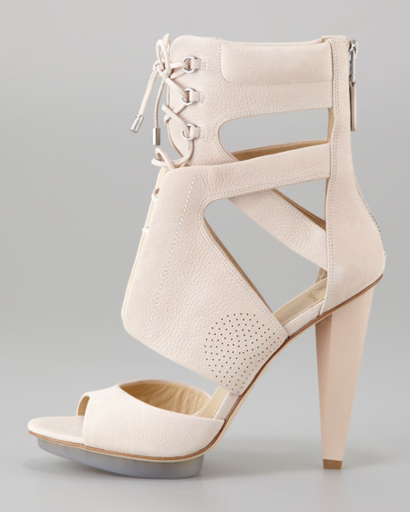 Sporty Lace-Up Leather Sandal