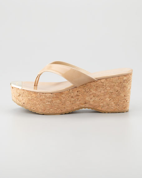 Pathos Patent Leather Cork Sandal, Nude