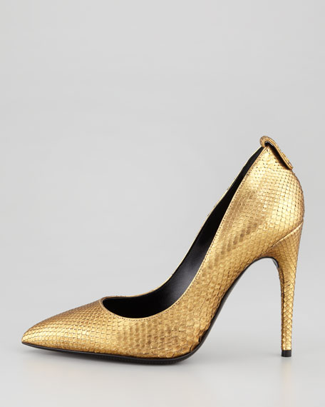 Metallic Python Pointed-Toe Pump