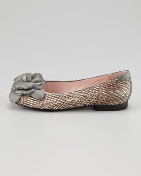 Breanna Rosette Snake-Embossed Ballerina Flat, Taupe
