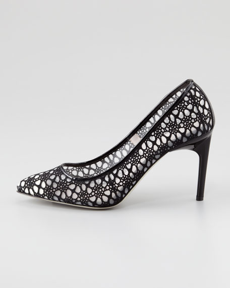 Crochet Lace Pump, Black