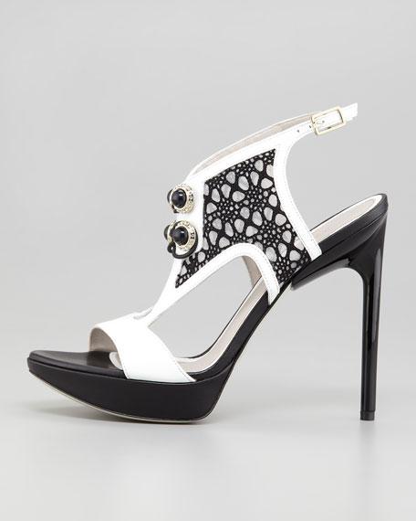 Lace-Front Ankle-Wrap Platform Sandal, White