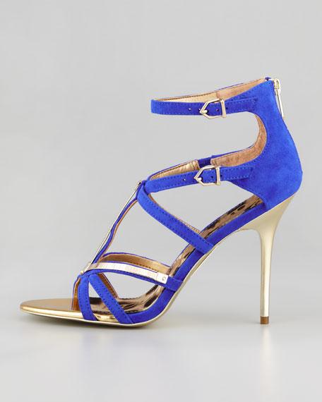 Alena Strappy Suede & Metallic Sandal, Indigo