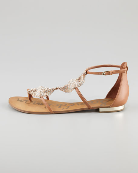 Diamond Leather Flat Sandal