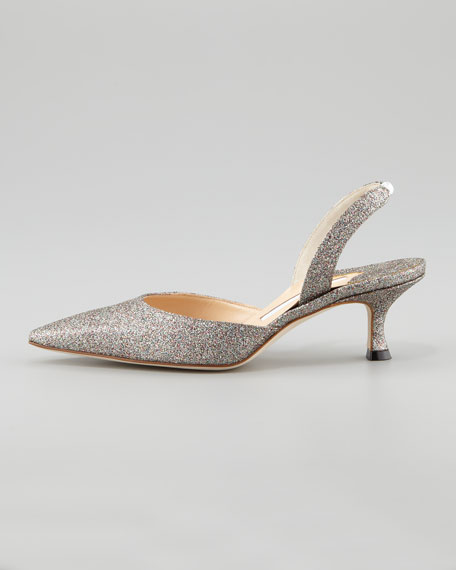 c365c2fd942 Manolo Blahnik Carolyne Glittered Low-Heel Halter Pump