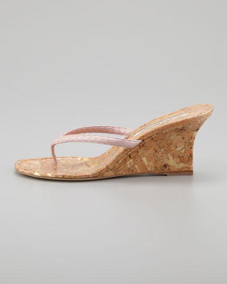Patwedfac Snakeskin Wedge Thong Sandal, Pink