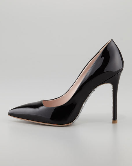 Glitter-Sole Patent Pointed-Toe Pump, Black