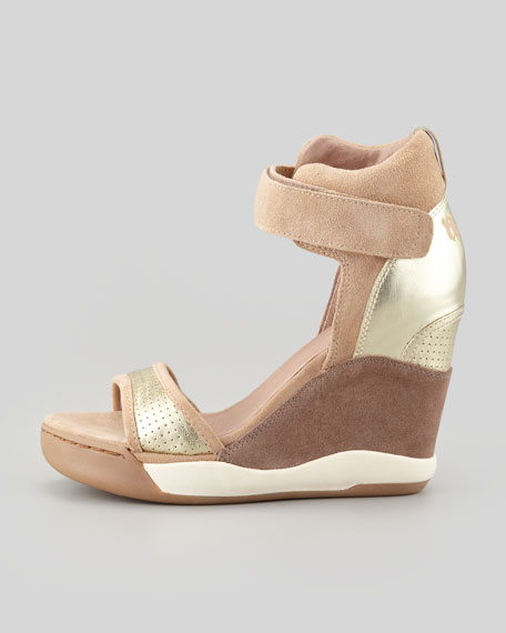 Suede Wedge Sneaker Sandal, Chamois
