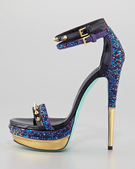 Sea Studded Platform Sandal, Capri Blue