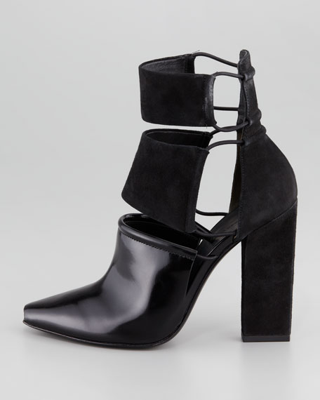 Mackenzie Suede and Leather Cutout Bootie