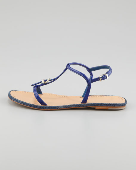 Flat Buckled Sandal, Blue