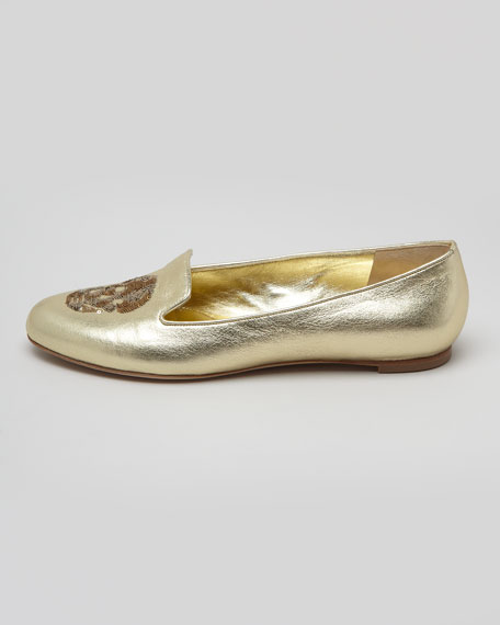 Embroidered Sequined Skull Smoking Slipper, Gold
