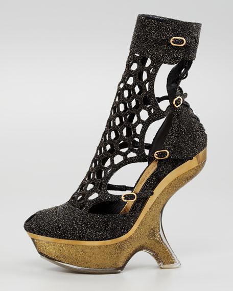 Alexander McQueen Metallic Sugar Honeycomb Wedge Boot