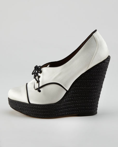 Satin Oxford Espadrille Wedge, White