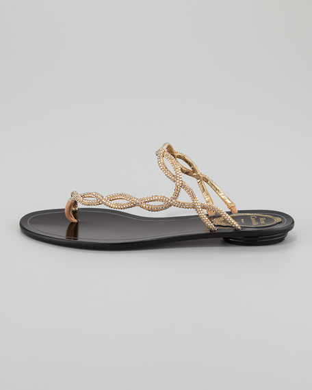 Twisted Crystal Flat Thong Sandal, Gold