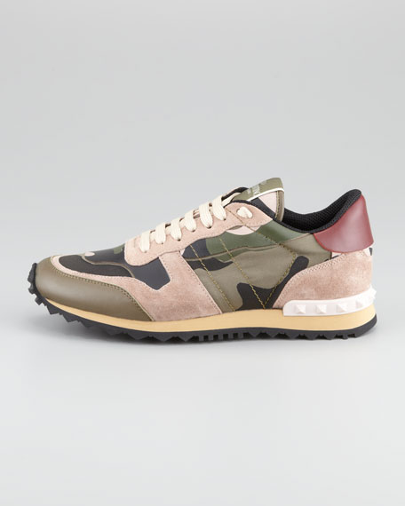 valentino rockstud camo print sneaker. Black Bedroom Furniture Sets. Home Design Ideas