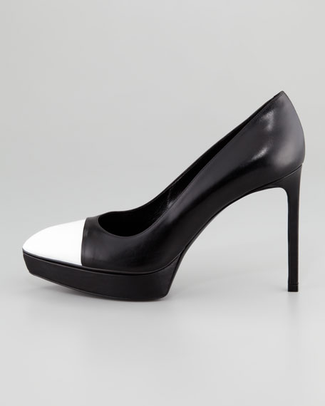 Janis Two-Tone Cap-Toe Platform Pump