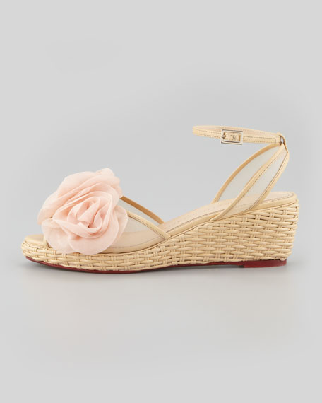 Fleurette Wicker-Woven Leather Wedge Sandal