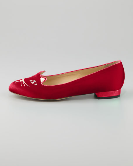 Kitty Satin Flat Slipper, Red