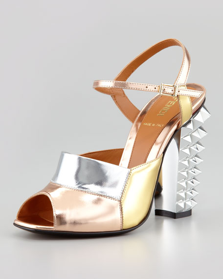 Runway Mirrored Pyramid Stud-Heel Sandal, Silver/Rose/Mint