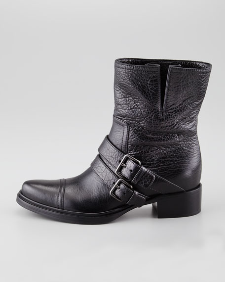 Double-Buckle Motorcycle Boot, Black