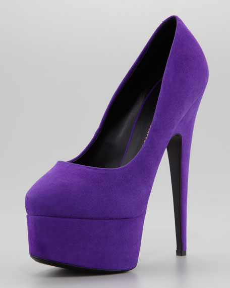 Pointed-Toe Platform Suede Pump