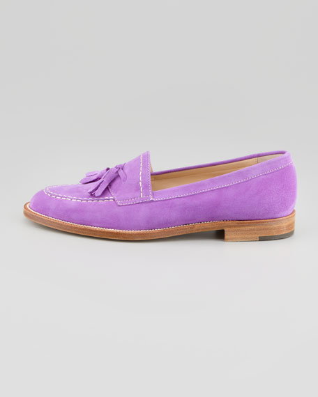 Aldena Tasseled Suede Loafer, Lavender