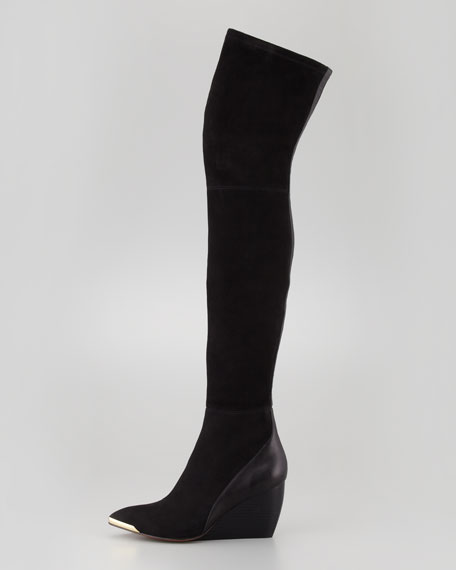 Rachel Zoe Nico Over-the-Knee Wedge Boot, Black
