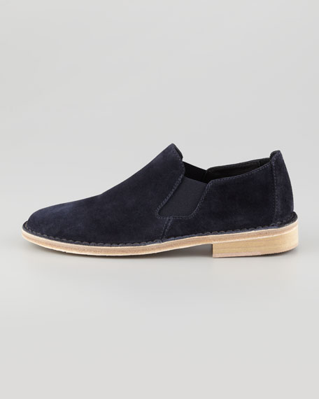Mia Gored Suede Flat Slip-On, Navy