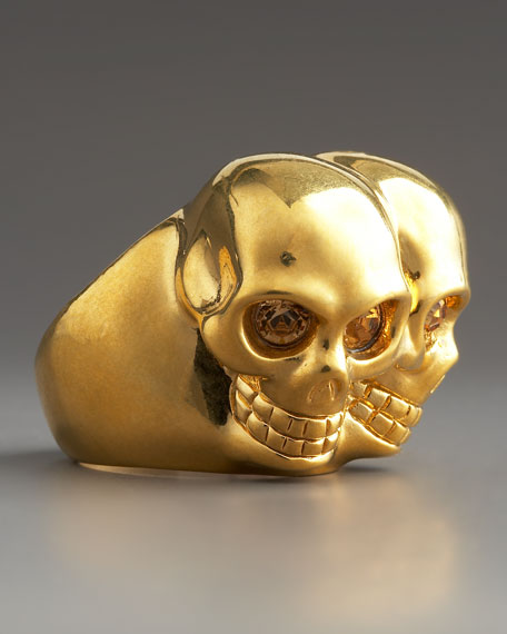 Conjoined Skull Ring, Golden