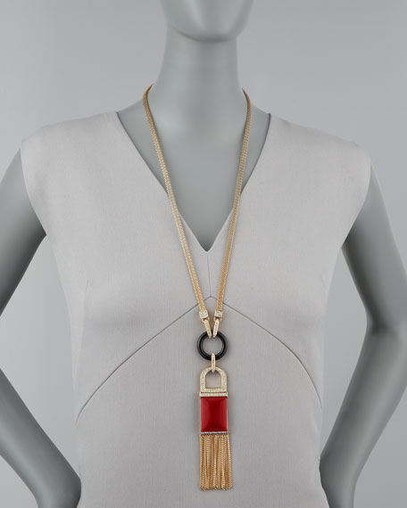 Tassel Pendant Necklace, Red Quartz