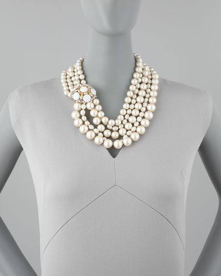 multi-strand pearl statement necklace