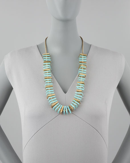 flat bead necklace, mint