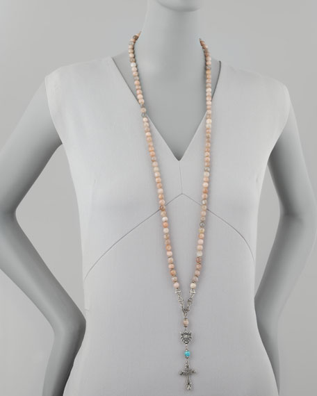 Long Rosary Necklace, Pink