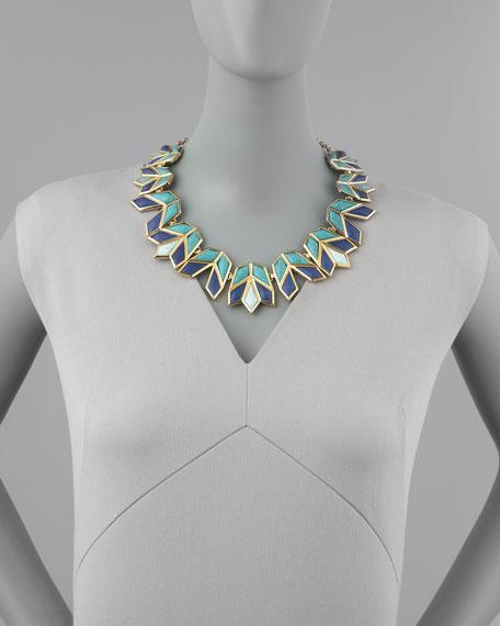Lele Sadoughi Lotus Bib Necklace, Aegean Blue