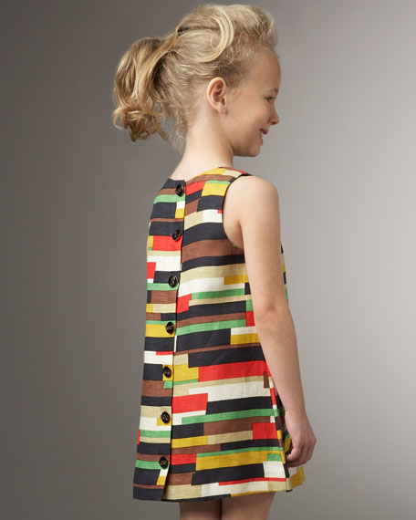 Cubist Printed Button-Back Dress