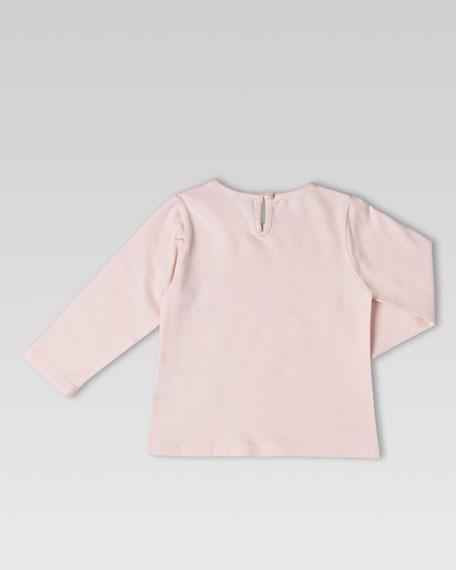 Teddy-Print Tee, Powder Pink